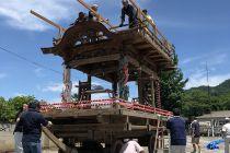 山車 組立 八坂神社夏祭り 栃木県佐野市葛生町